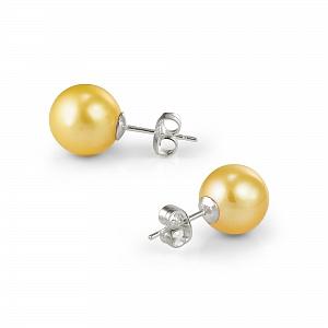 Пусеты на серебре с золотистой круглой жемчужиной 9,5-10 мм