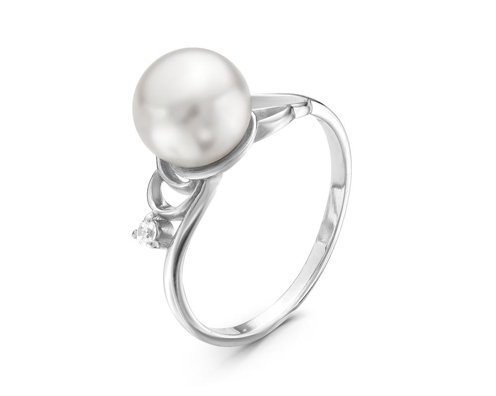 Кольцо из серебра с белой речной жемчужиной 8,5 мм