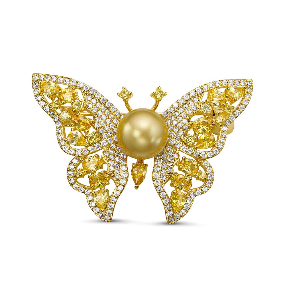 """Брошь """"Бабочка"""" с Австралийской золотой жемчужиной 10-10,5 мм"""