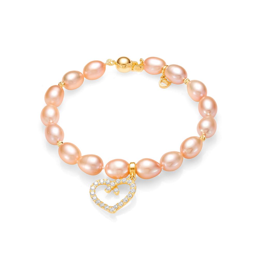 """Браслет """"Сердце"""" из розового рисообразного речного жемчуга 7,5-8 мм с подвеской из серебра"""
