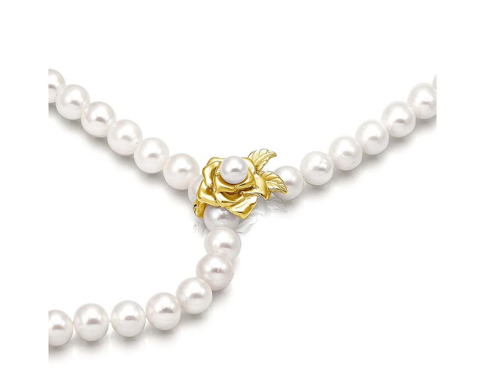 """Ожерелье из белого круглого речного жемчуга с застежкой """"Роза"""""""