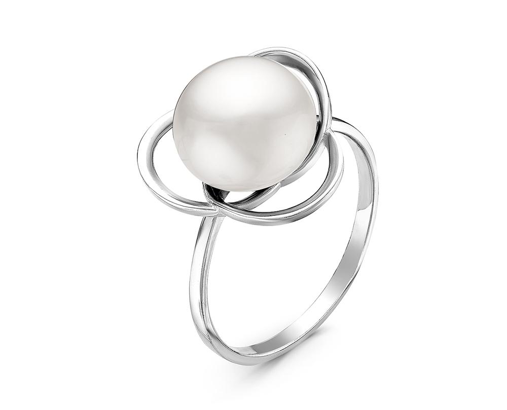 Кольцо из серебра с белой речной жемчужиной 9,5-10,5 мм