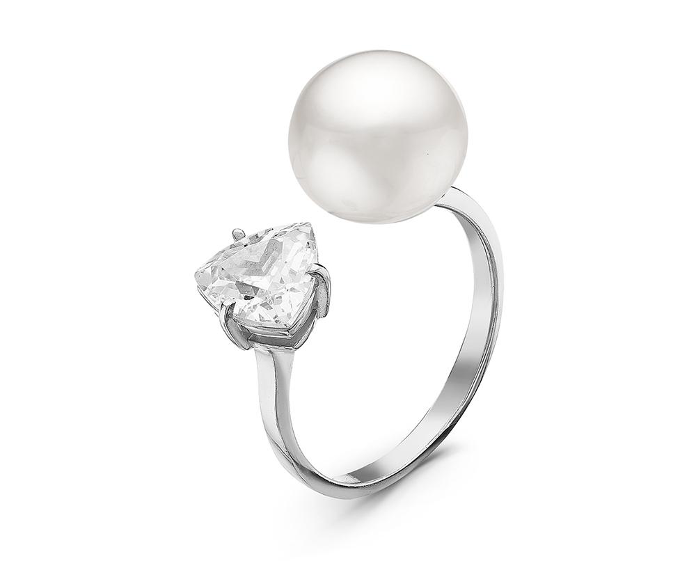 """Кольцо """"Диор"""" из серебра с белой речной жемчужиной 9,5-10 мм"""
