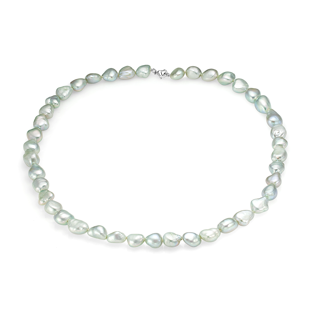 Ожерелье из фисташкового барочного жемчуга. Жемчужины 9-10 мм