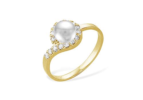 Кольцо из желтого золота с белой речной жемчужиной 7-7,5 мм
