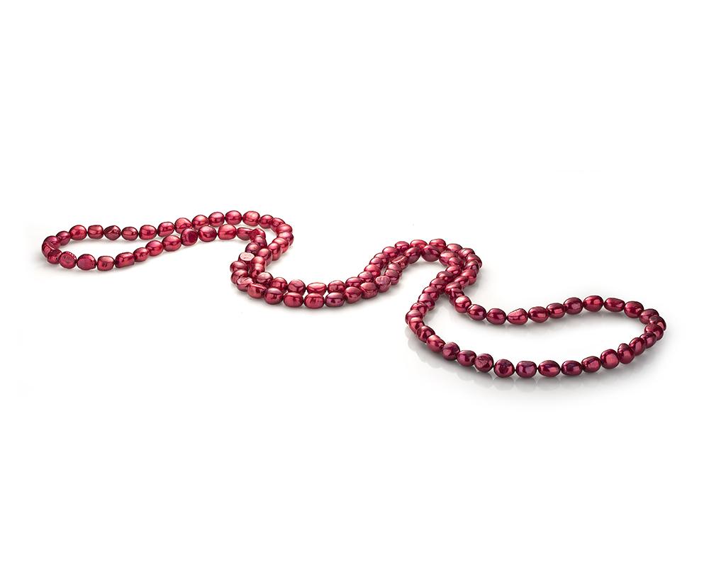 Длинные бусы из красного речного жемчуга барокко 11-12 мм
