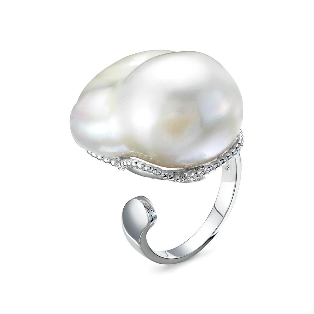 """Кольцо из серебра с белой речной жемчужиной """"Барокко"""" 20-28 мм"""