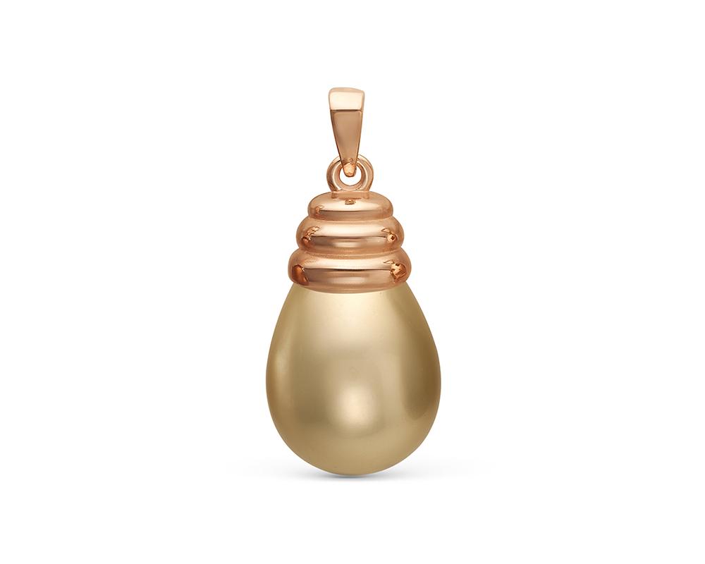 """Кулон с золотистой жемчужиной """"Майорика"""" 12,5-15,5 мм"""