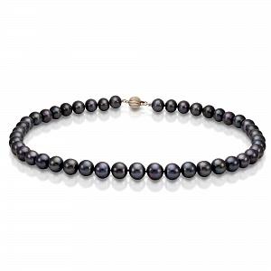 Ожерелье из черного круглого речного жемчуга. Жемчужины 8,5-9,5 мм