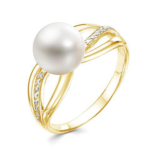Кольцо из желтого золота с белой речной жемчужиной 8,5-9 мм