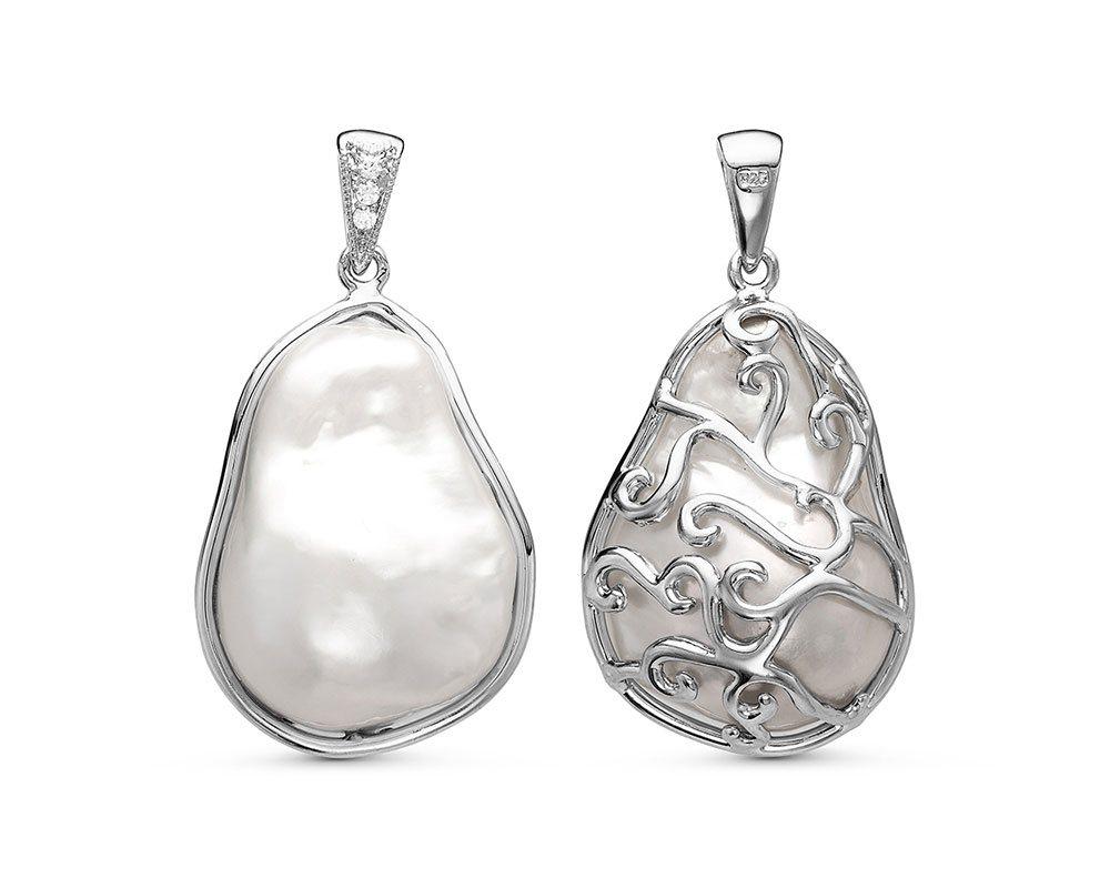 Кулон из серебра с белой барочной жемчужиной 20-26 мм