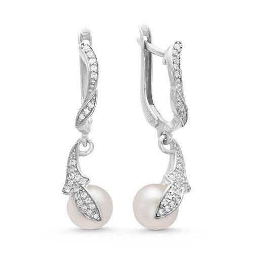 Серьги из серебра c белыми речными жемчужинами. Жемчужины 8-8,5 мм