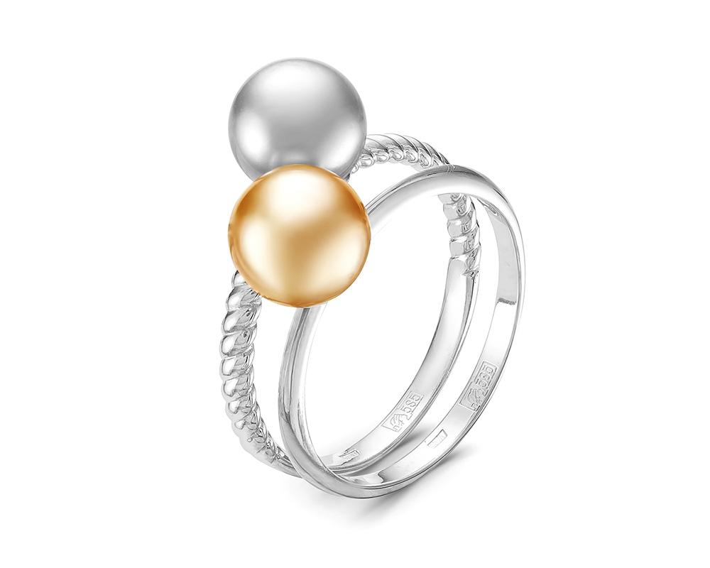 """Кольцо """"Дуэт"""" c золотой и серебристой жемчужинами Акойя"""