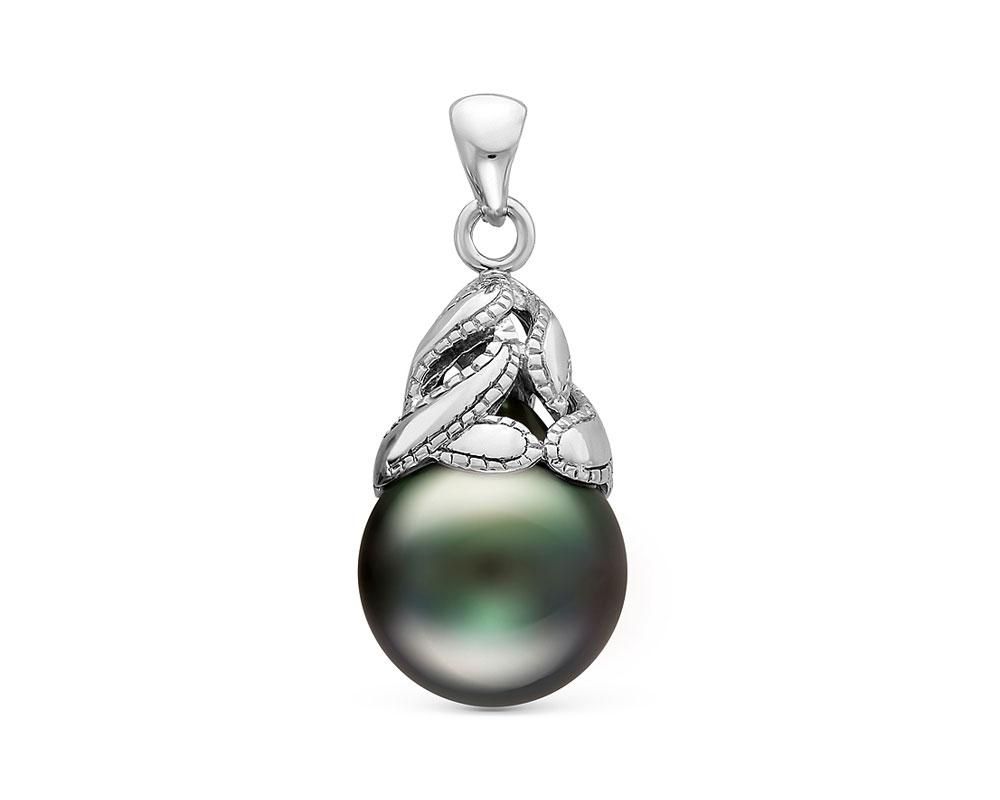 Кулон из серебра с Таитянской морской черной жемчужиной