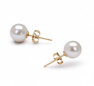 Пусеты на серебре с белой идеально круглой жемчужиной 7,5-8 мм