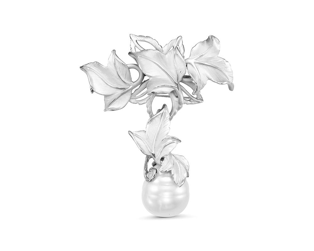 Брошь-кулон из серебра с белой Австралийской жемчужиной 14,6 мм
