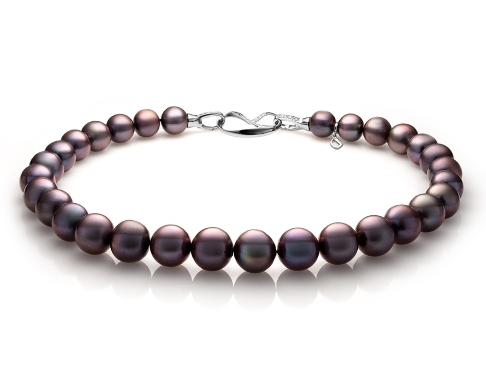 Ожерелье из 30 жемчужин из черного круглого речного жемчуга