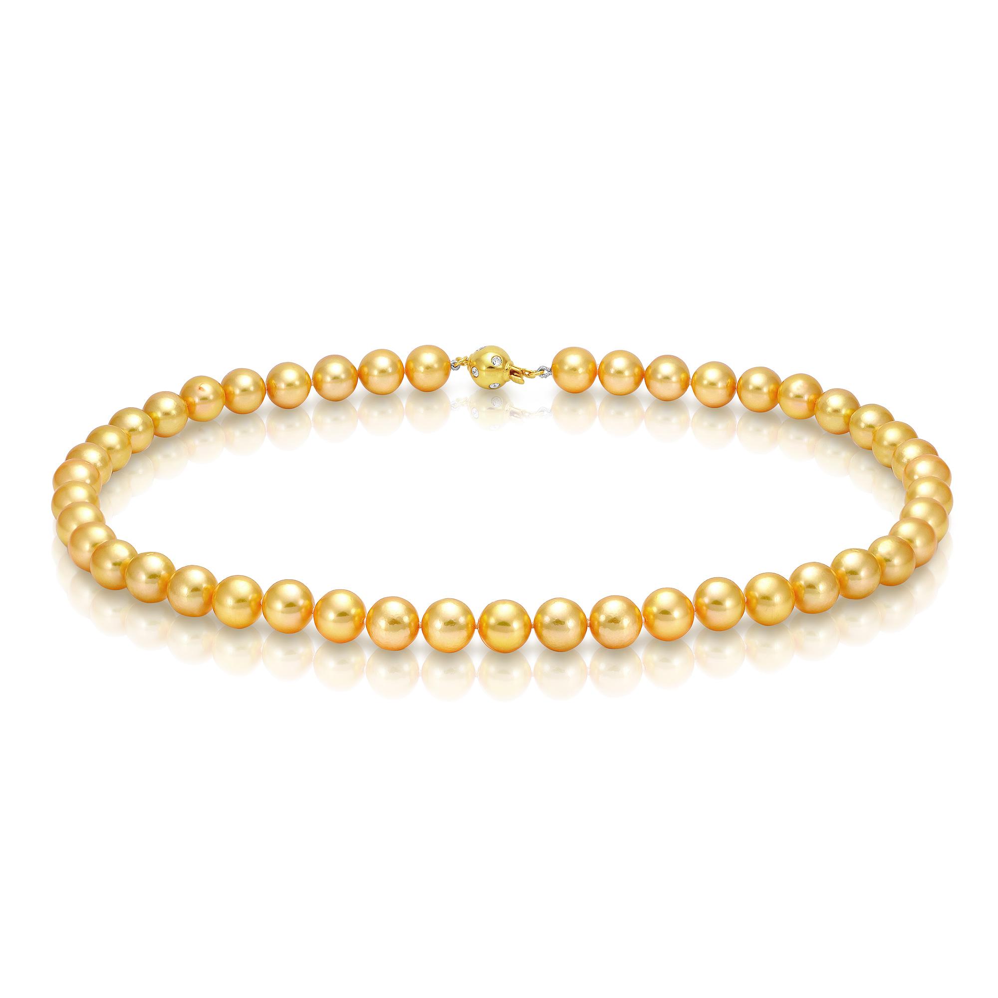Ожерелье из золотистого морского жемчуга Акойя (Япония) 8,6-9 мм