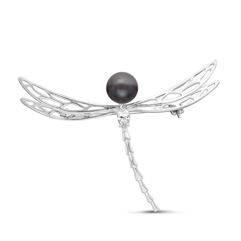 Брошь из серебра с черной речной жемчужиной 7,5-8 мм