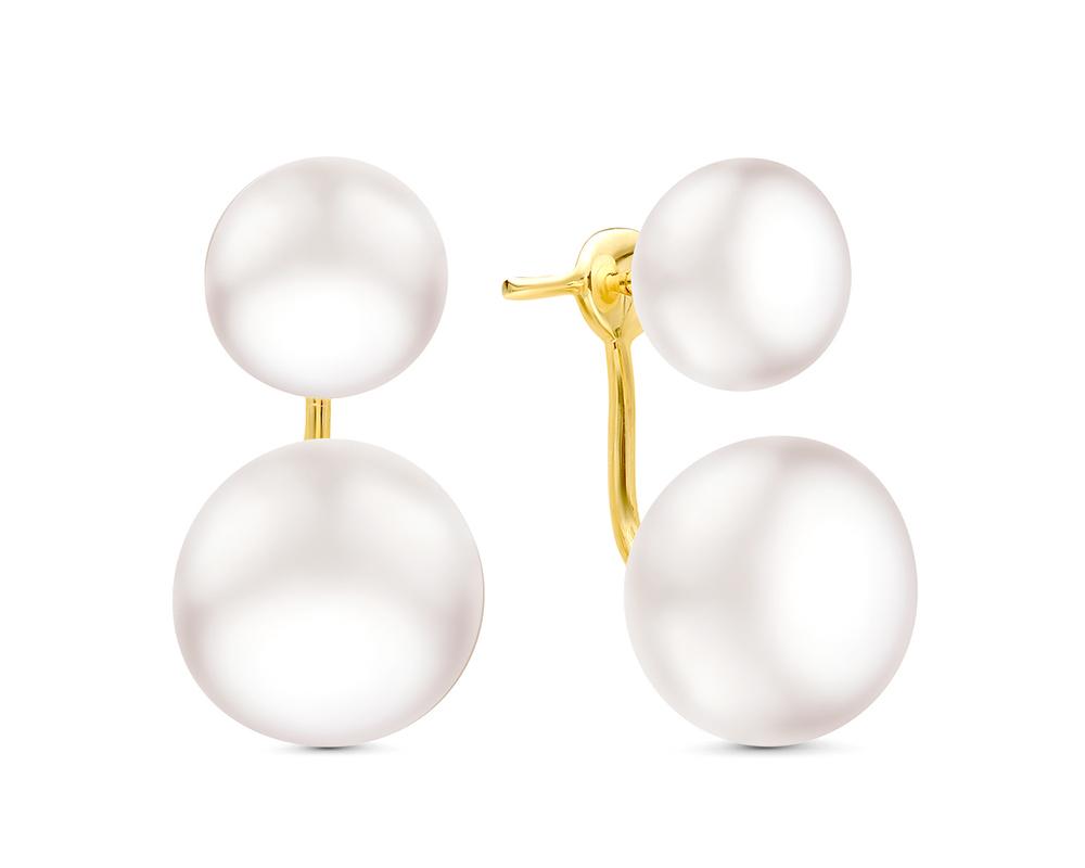 """Пусеты """"Диор"""" из серебра с белыми речными жемчужинами 10,5-11,5 мм"""