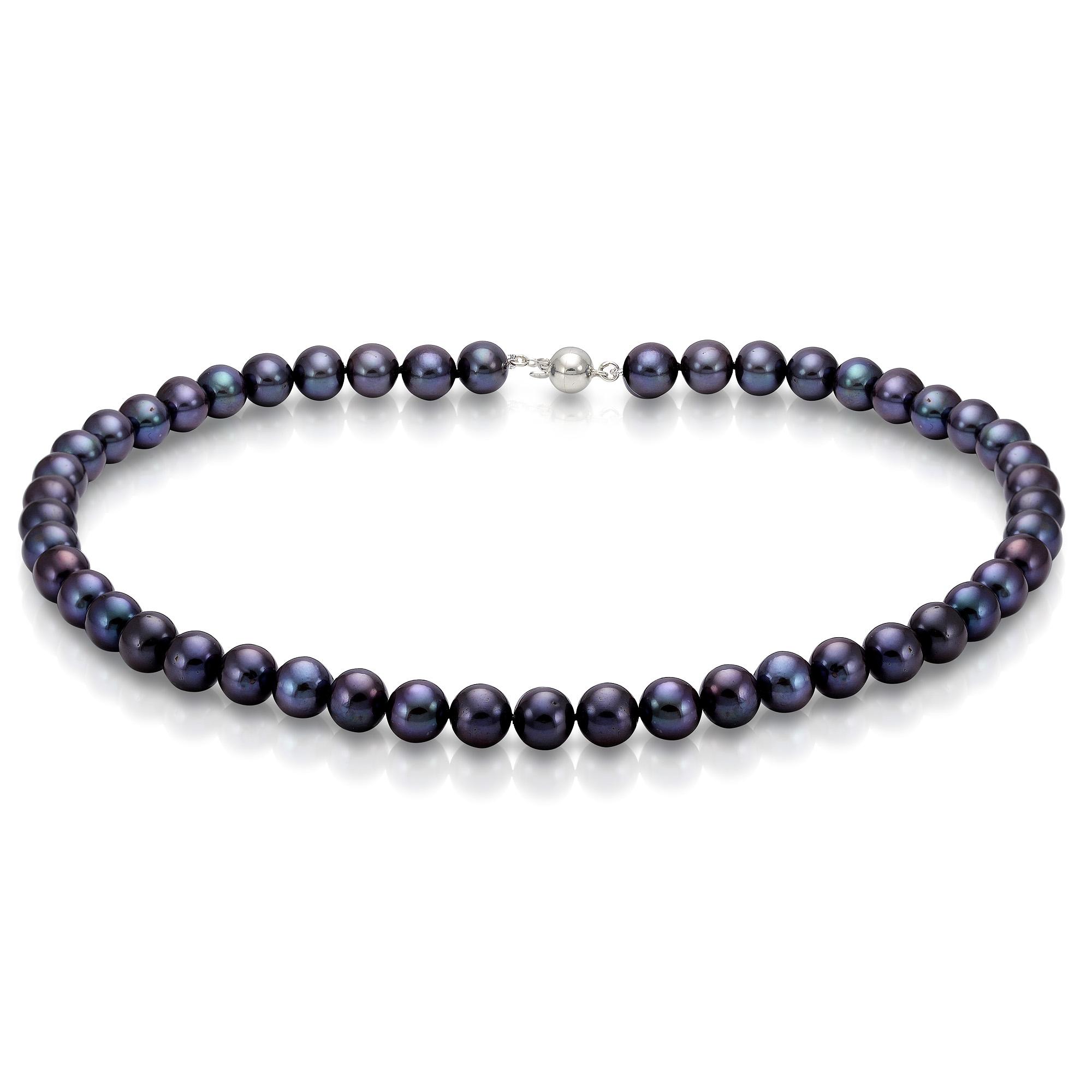 Ожерелье из черного круглого речного жемчуга. Жемчужины 7,5-8 мм