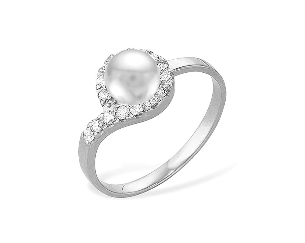 Кольцо из серебра с белой речной жемчужиной 5,5-6 мм