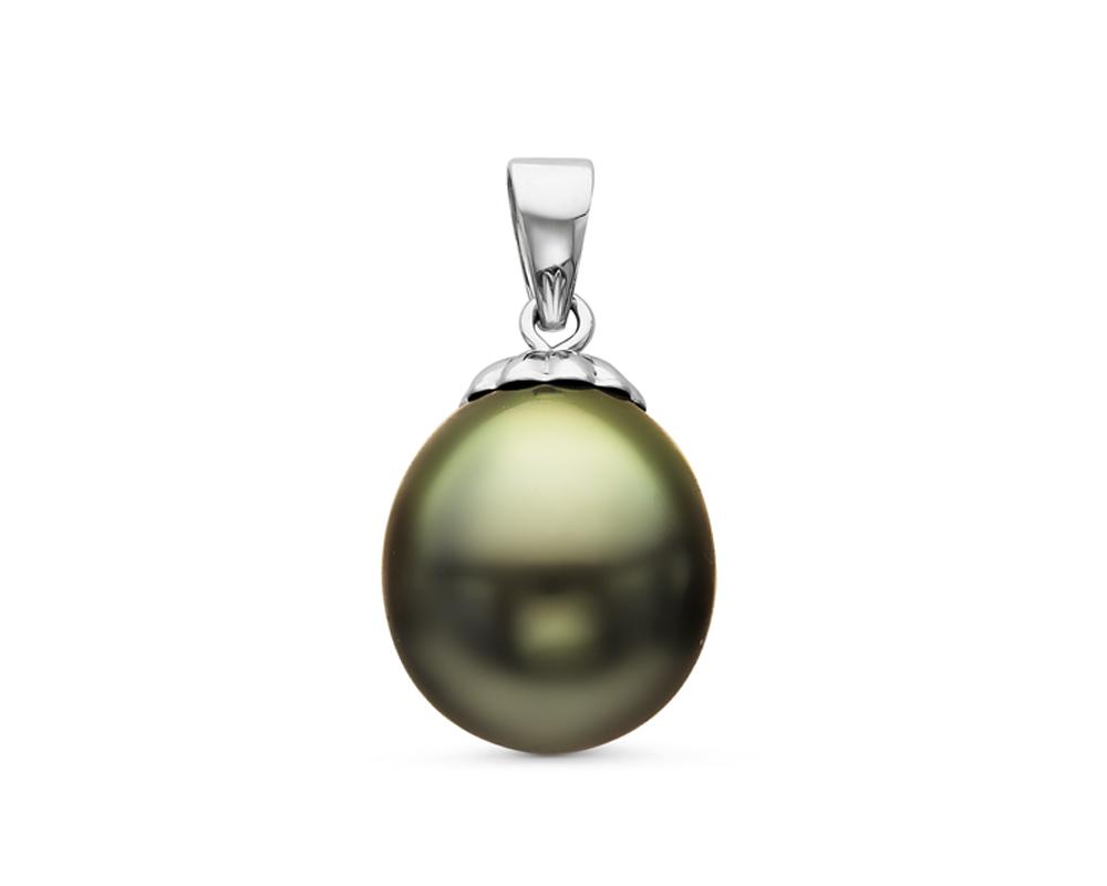 Кулон из серебра с черной морской Таитянской жемчужиной. Жемчужина 9,6-9,9 мм