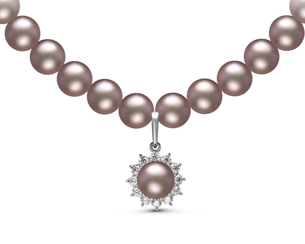 Ожерелье из серого пресноводного жемчуга с подвеской из серебра. Жемчужины 8-8,5 мм