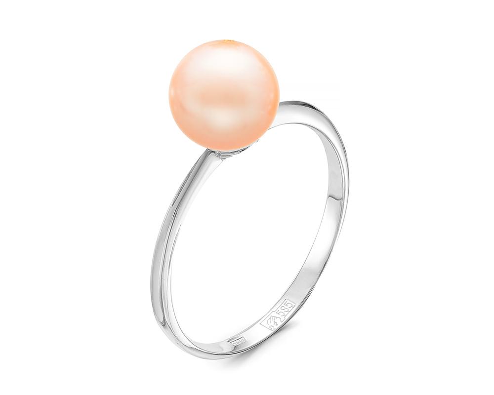 Кольцо из серебра с розовой речной жемчужиной 7-7,5 мм