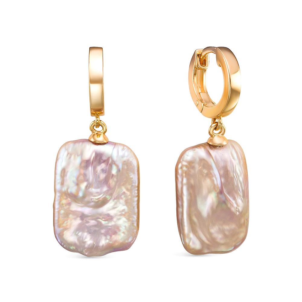Серьги из серебра с розовым барочным жемчугом. Жемчужины 15-19 мм