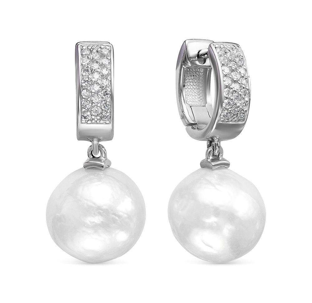 Серьги из серебра c белыми японскими жемчужинами. Жемчужины 12,5-13 мм