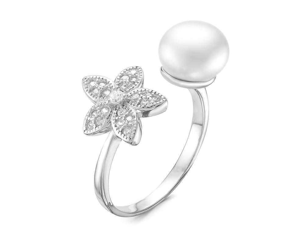 Двойное кольцо из серебра с белой речной жемчужиной 10 мм