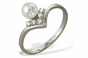 Кольцо из серебра с белой круглой речной жемчужиной 7-7,5 мм
