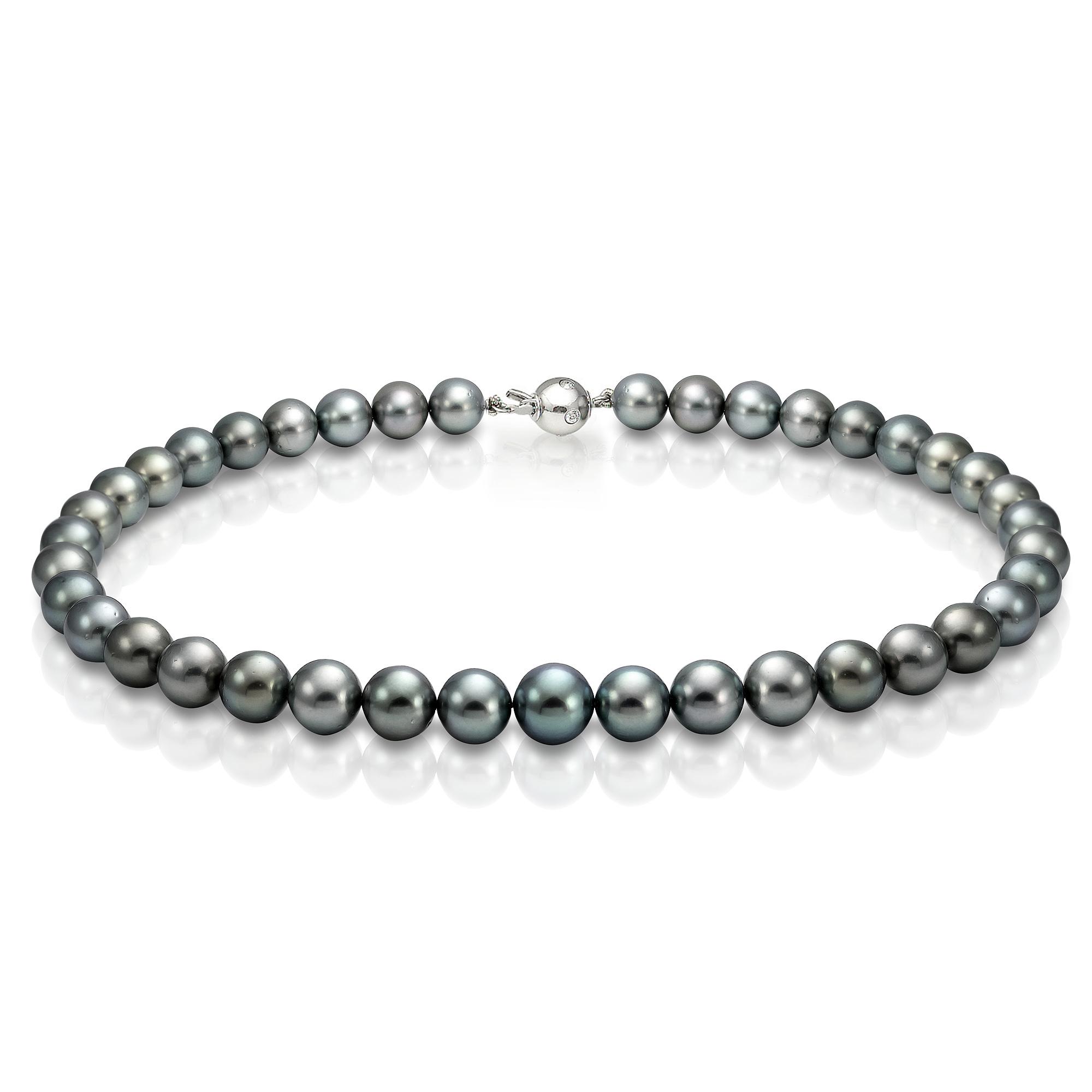 Ожерелье из серебристого круглого морского Таитянского жемчуга 10-11,7 мм
