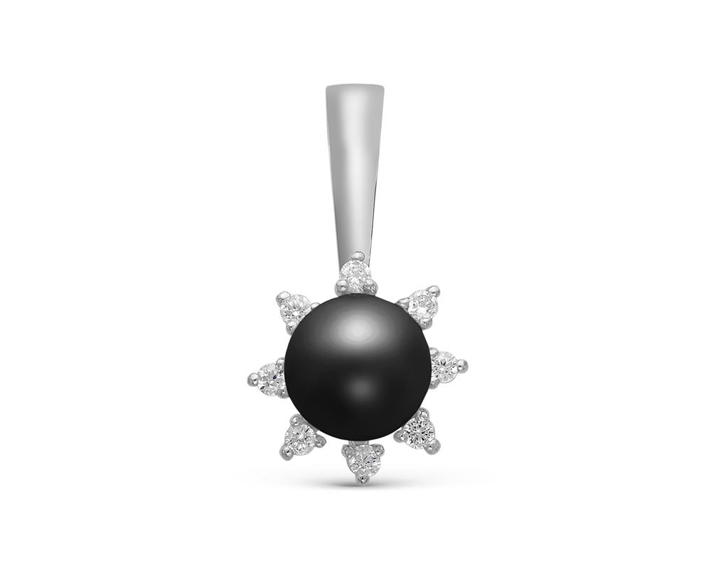 Подвеска из серебра с черной круглой речной жемчужиной 7-7,5 мм