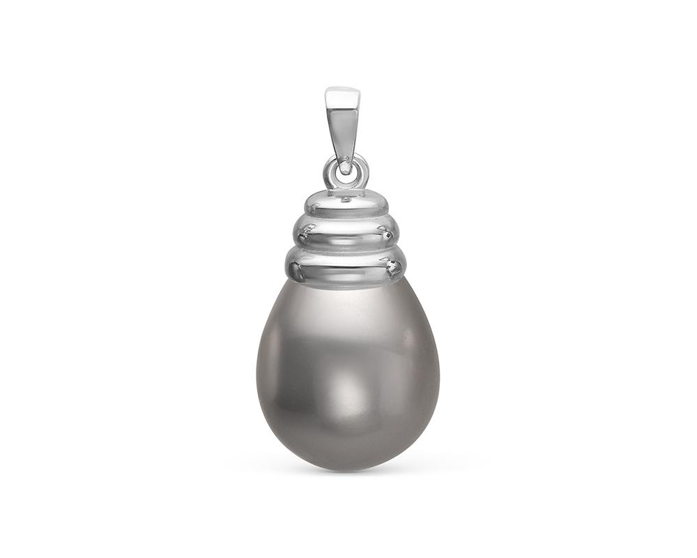 """Кулон из серебра с серебристой жемчужиной """"Майорика"""" 12,5-15,5 мм"""