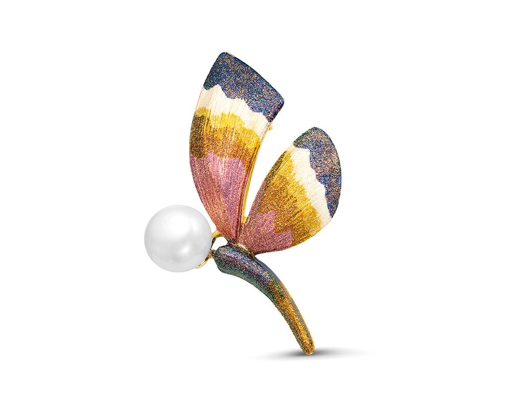"""Брошь """"Бабочка"""" с белой пресноводной жемчужиной 12,5 мм"""