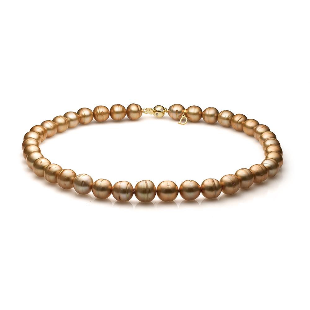 Ожерелье из золотистого барочного речного жемчуга. Жемчужины 11-12 мм
