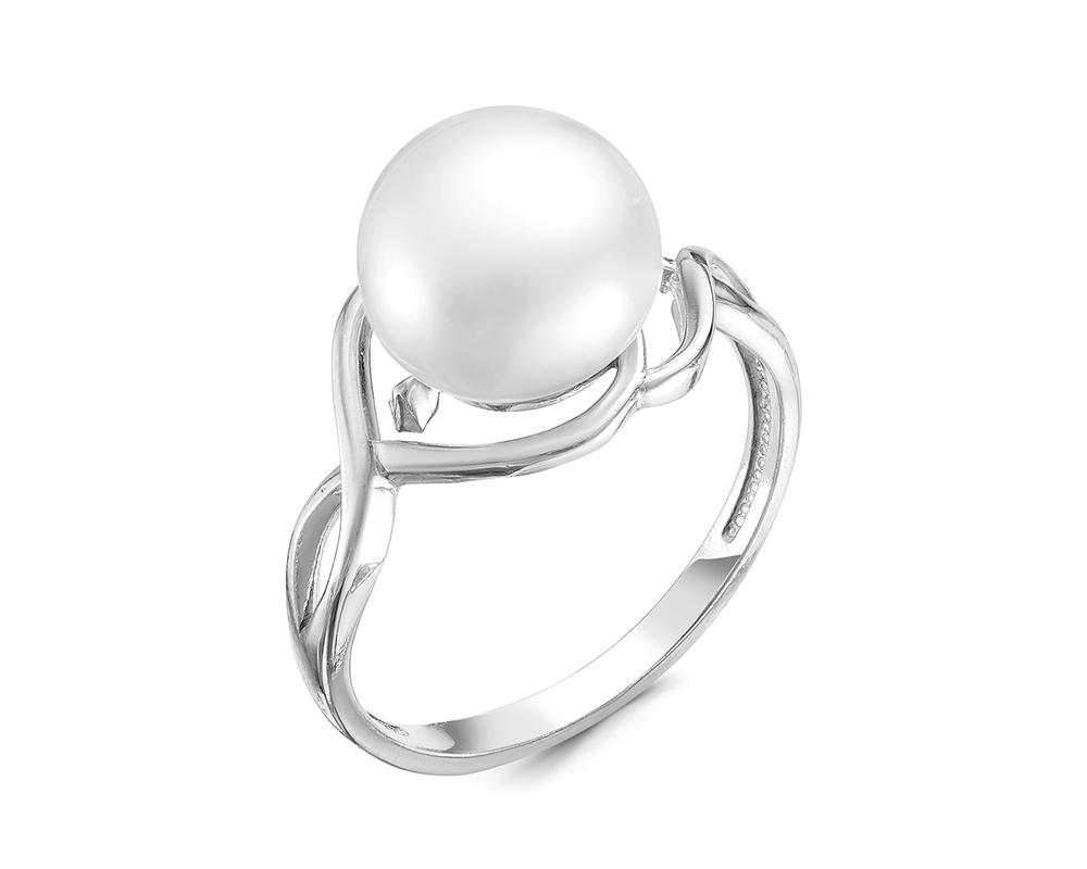 Кольцо из серебра с белой речной жемчужиной 10 мм