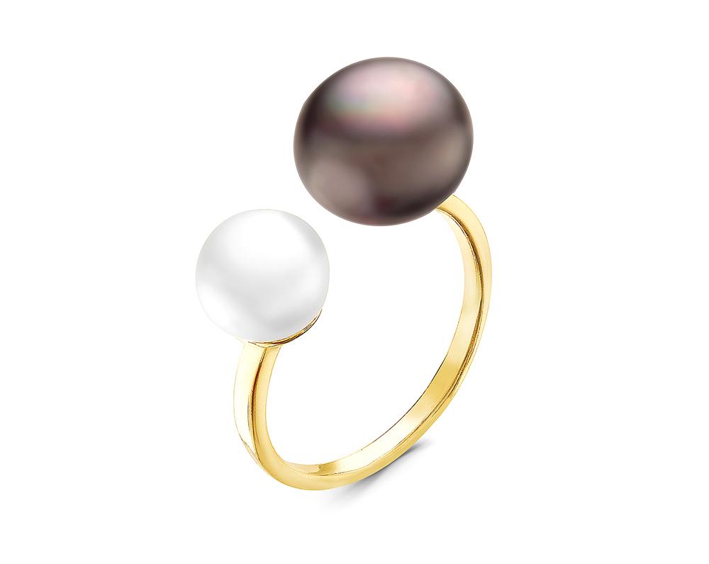 Кольцо из серебра с белой и черной речными жемчужинами. Жемчужины 7-10 мм