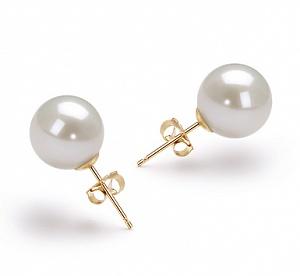 Пусеты на серебре с белой идеально круглой жемчужиной 9,5-10 мм