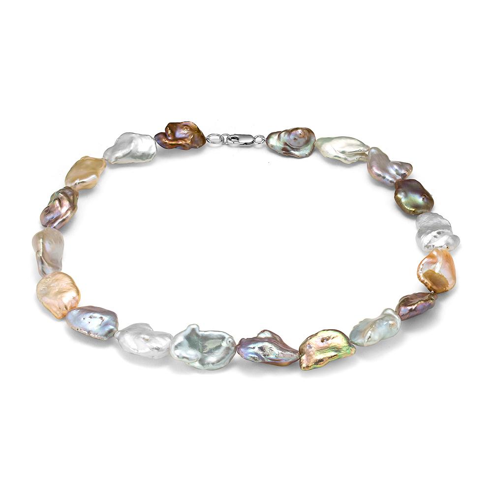 """Ожерелье """"микс"""" из розового барочного речного жемчуга. Жемчужины 13-15 мм"""