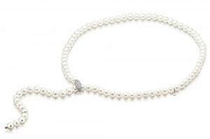 """Ожерелье """"галстук"""" из белого круглого пресноводного жемчуга"""