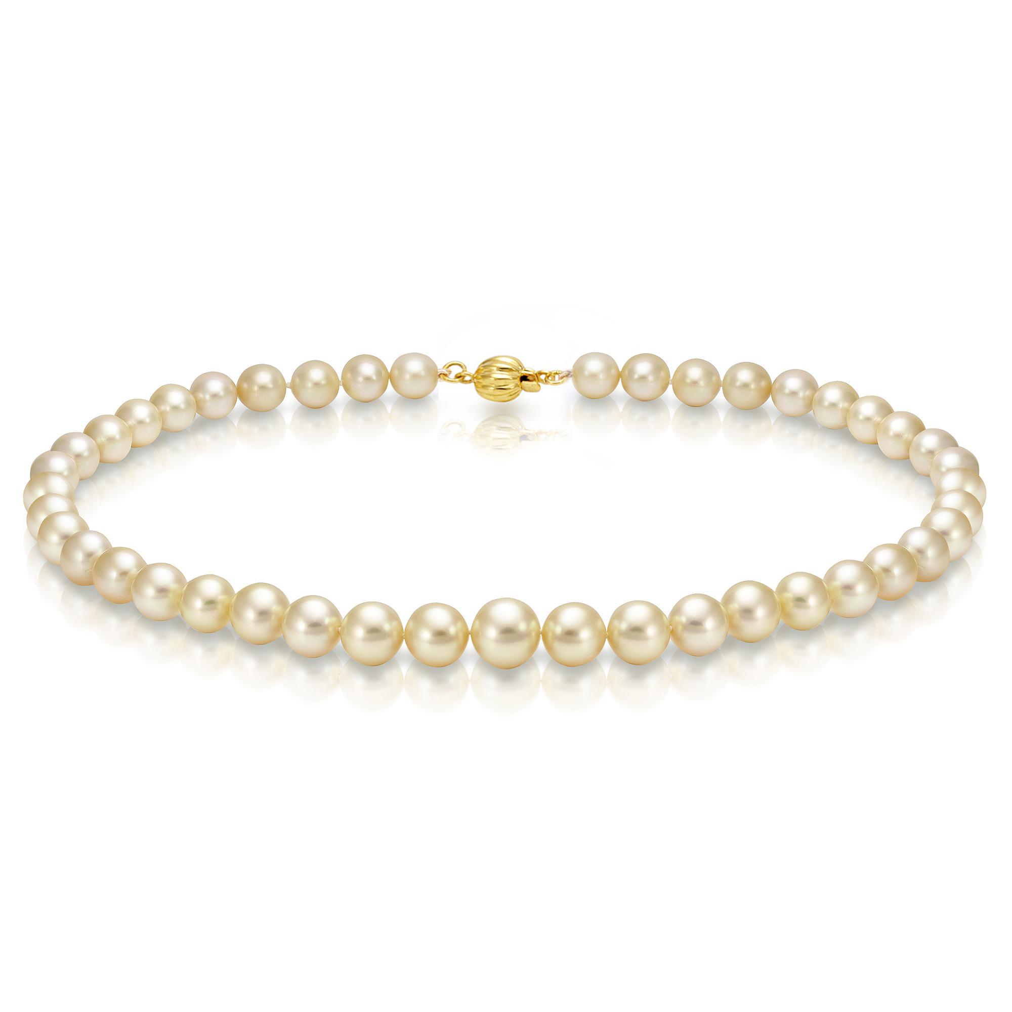Ожерелье из золотого морского Австралийского жемчуга 8-10,7 мм