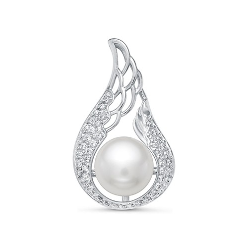Кулон из серебра с белой речной жемчужиной. Жемчужина 8,5-9 мм