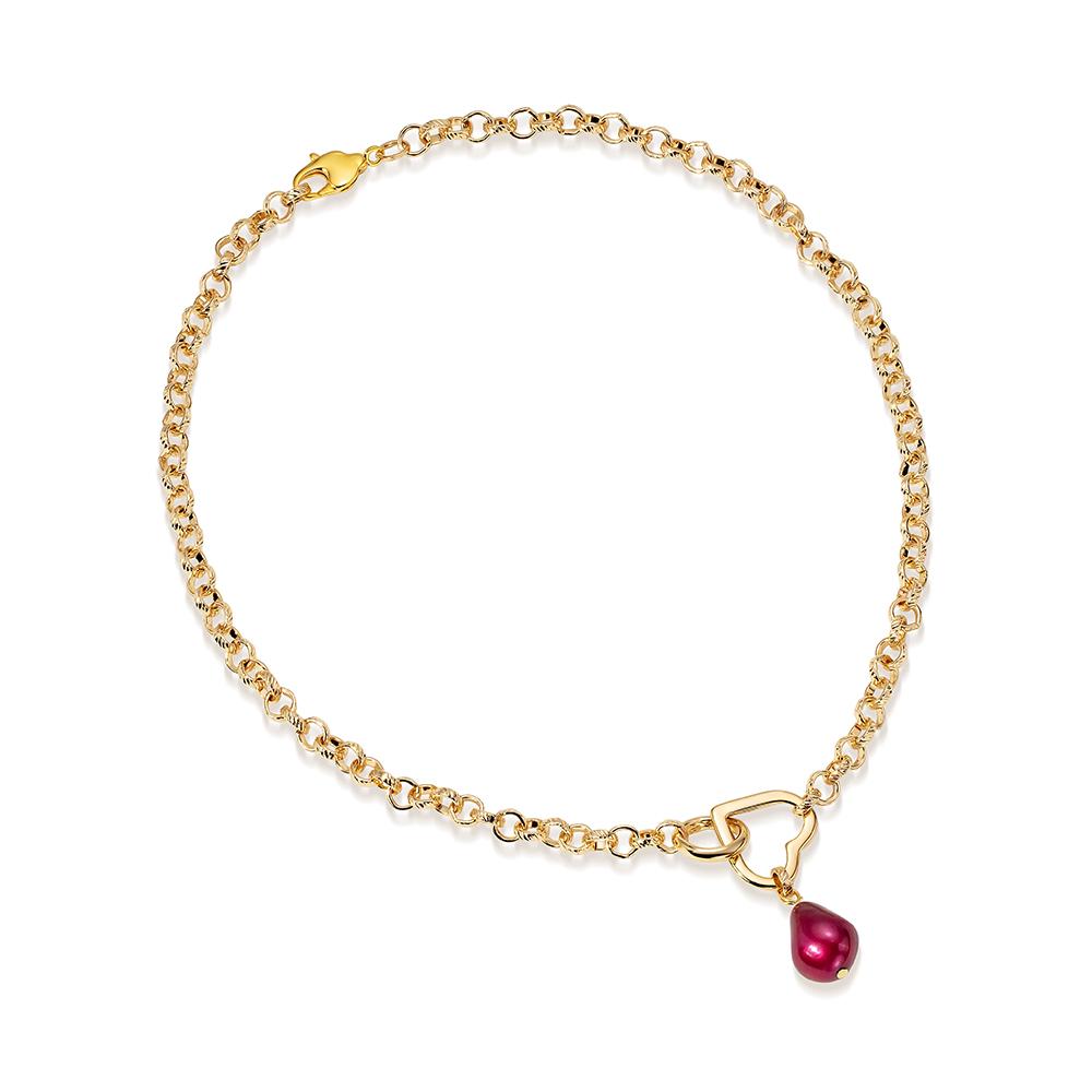 Цепочка-колье из ювелирного сплава с красным барочным жемчугом 11-12 мм