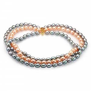 """Ожерелье 3-рядное """"микс"""" из рисообразного речного жемчуга"""