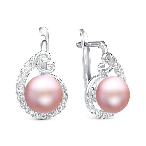 Серьги из серебра с розовыми речными жемчужинами 9,5-10 мм