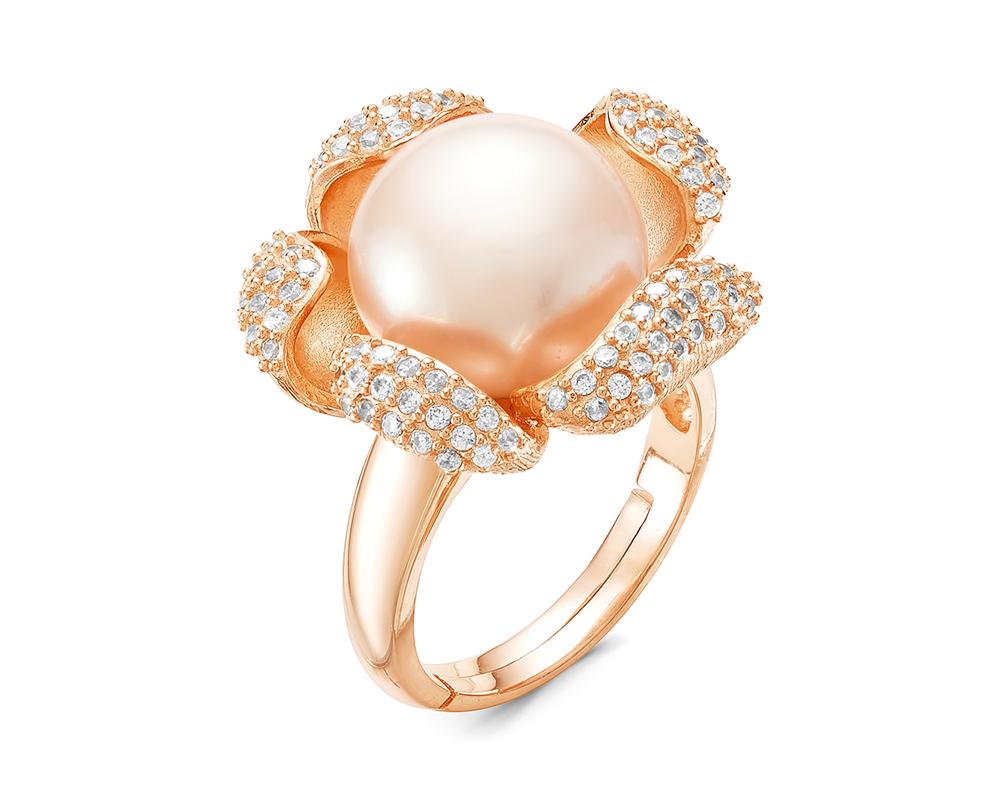 """Кольцо """"Цветок"""" из серебра с белой речной жемчужиной 12 мм"""