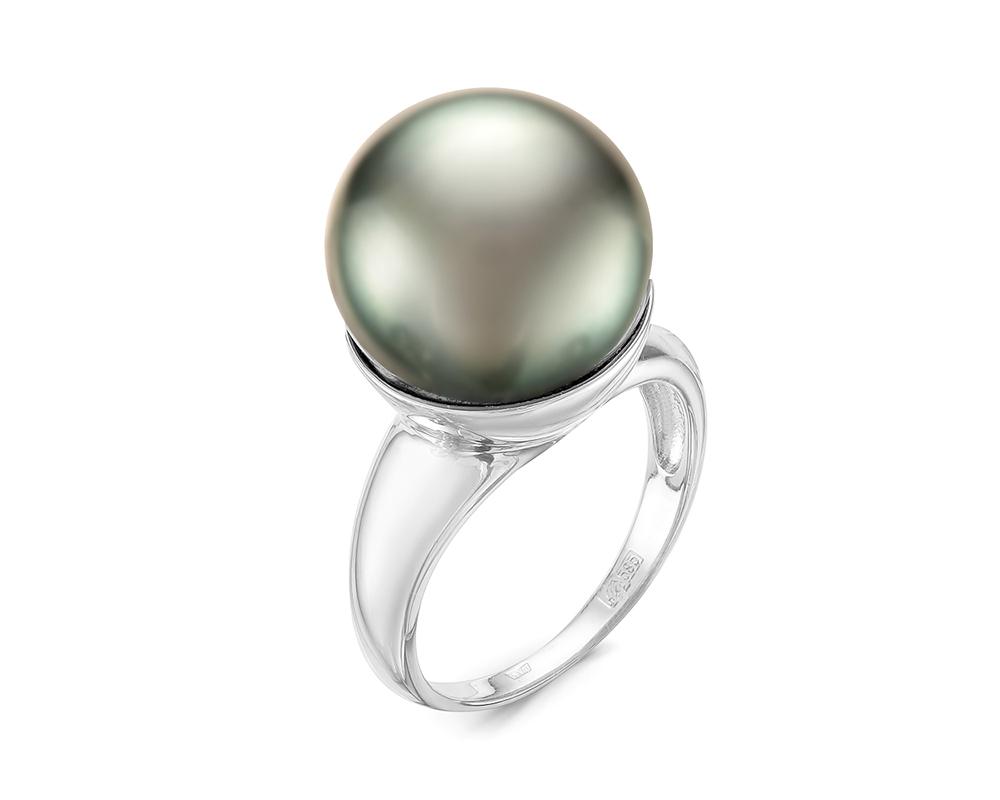 Кольцо из серебра с черной морской Таитянской жемчужиной 14-14,5 мм